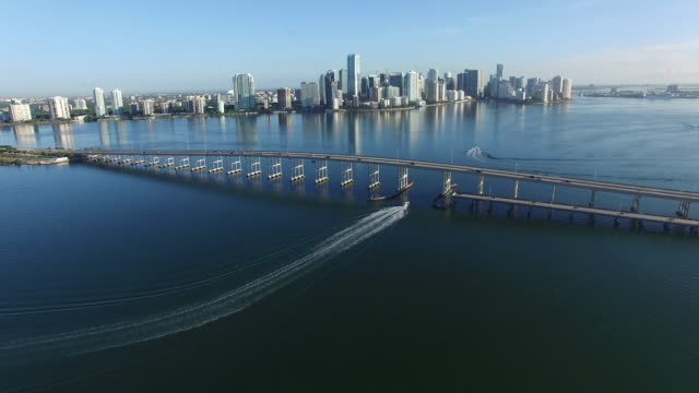 4k aerial over biscayne bay - biscayne bay stock videos and b-roll footage