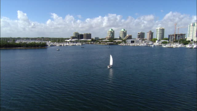 aerial over biscayne bay with marina and coastline / miami, florida - biscayne bay stock-videos und b-roll-filmmaterial