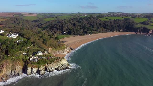 aerial over blackpool sands, near dartmouth, devon, england, united kingdom - devon stock videos & royalty-free footage