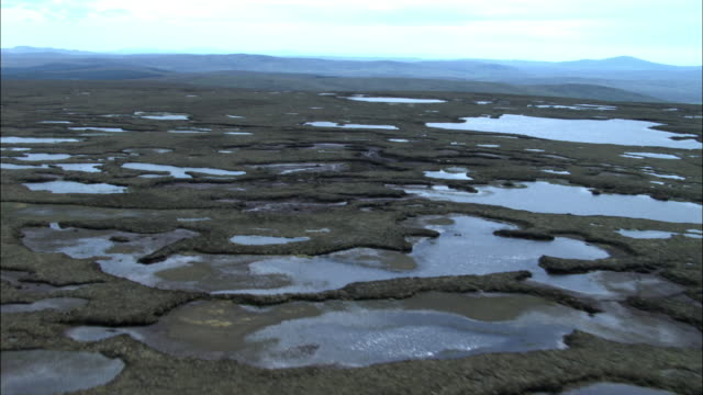 Aerial over blanket bog in Highlands, Scotland, UK