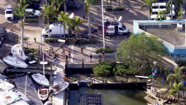 stockvideo's en b-roll-footage met aerial over boats and docks in biscayne bay in miami overall debris from hurricane irma a category 4 hurricane from hurricane irma - biscayne bay