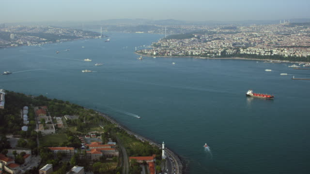 aerial over bosphorus strait in istanbul - bosphorus stock videos & royalty-free footage