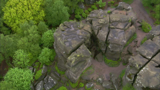 Aerial over Brimham Rocks, Yorkshire, UK
