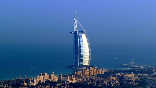 Aerial over Burj Al Arab, Dubai, United Arab Emirates