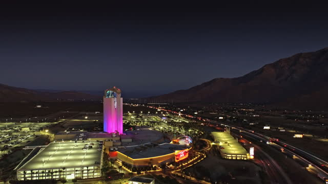 ws aerial over california indian casino and hotel complex adjacent to interstate 10 and san gorgonio pass at night - interstate 10 stock videos & royalty-free footage