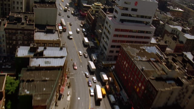 aerial over canal street in chinatown / over manhattan bridge / new york city - brooklyn new york stock videos & royalty-free footage