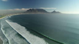 aerial over Cape Town coast South Africa
