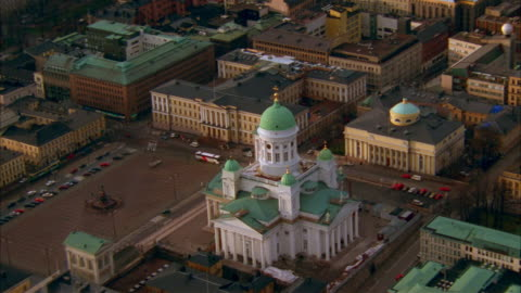 aerial over cathedral in senate square / helsinki, finland - finland stock videos & royalty-free footage