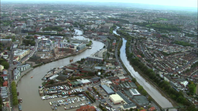 aerial over city of bristol, uk - bristol england stock videos & royalty-free footage