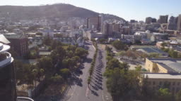 Aerial over City of Cape Town during Corona Virus lockdown, with empty streets