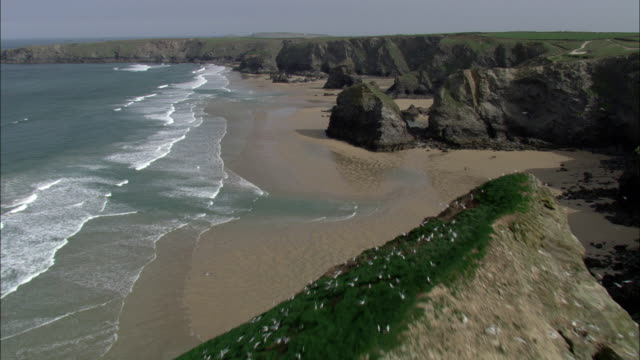 aerial over cliffs, beach and sea, cornwall, uk - cliff stock videos & royalty-free footage