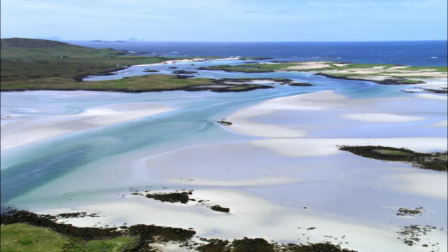 Aerial over coast of Outer Hebrides, Scotland, UK