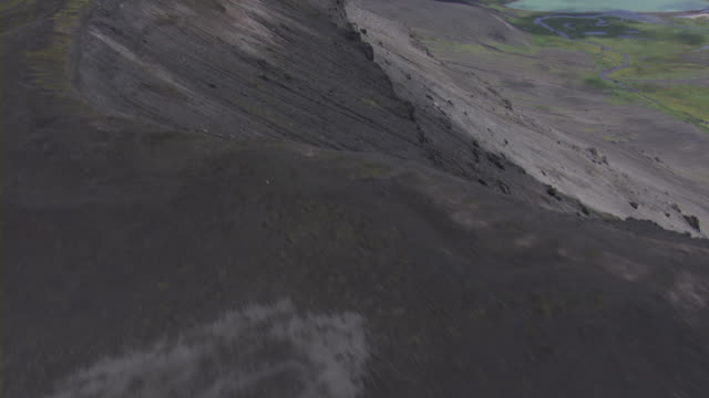 aerial over crater of caldera revealing suprise lake, alaska, september 2010 - caldera stock videos and b-roll footage