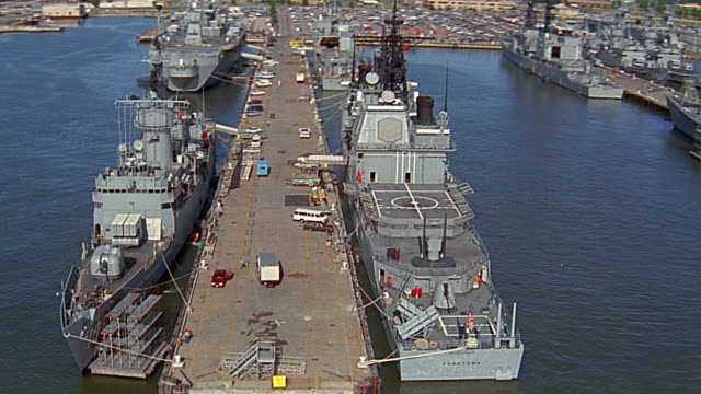 Aerial over docked US Navy ships