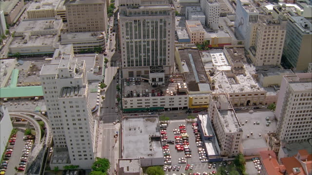 aerial over downtown miami / flying directly over buildings / florida - 2002 stock videos & royalty-free footage