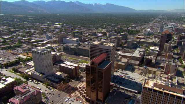 aerial over downtown salt lake city, utah - utah stock-videos und b-roll-filmmaterial
