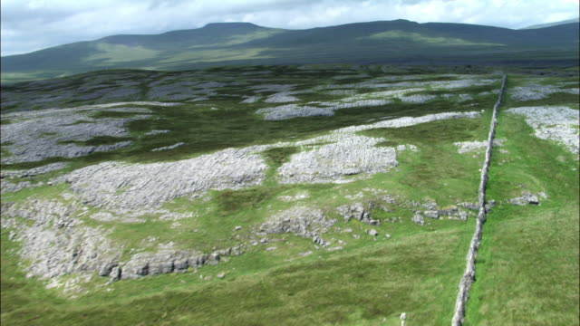 Aerial over dry stone wall and limestone pavement, Yorkshire Dales, UK