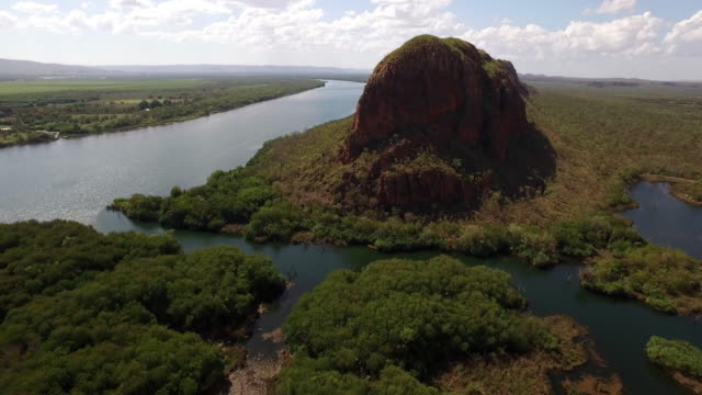 aerial over elephant rock, ord river and swamp - wetland stock videos & royalty-free footage