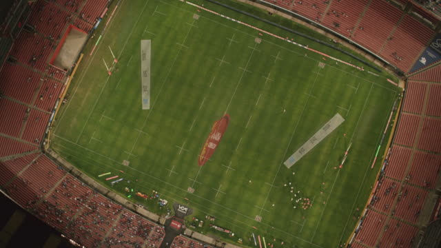 Aerial over Ellis Park Stadium in Johannesburg during a rugby match