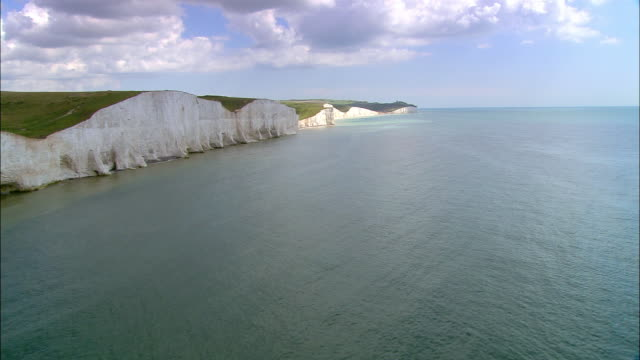 aerial over english channel past seven sisters chalk cliffs / east sussex, england - english channel stock videos & royalty-free footage