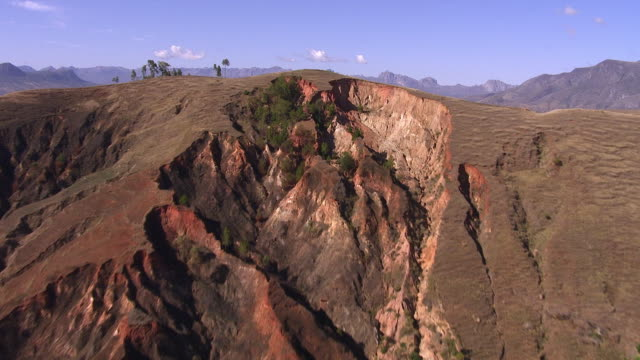 "stockvideo's en b-roll-footage met aerial over eroded hillside, madagascar - ""bbc natural history"""