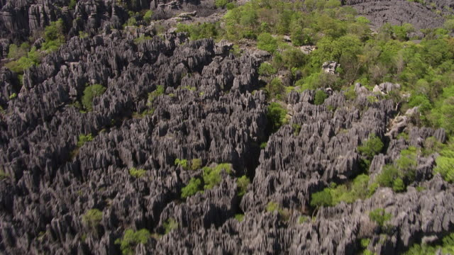 aerial over eroded tsingy limestone karst landscape, ankarana, madagascar - karst formation stock videos & royalty-free footage