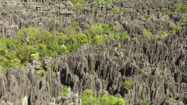 Aerial over eroded Tsingy limestone karst landscape, Ankarana, Madagascar