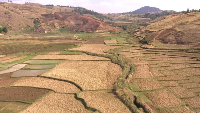 vídeos y material grabado en eventos de stock de aerial over farmland in valley, madagascar - paisaje mosaico