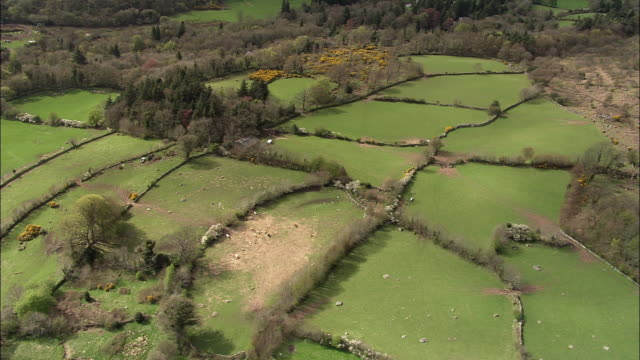 vidéos et rushes de aerial over fields and farmland, devon, uk - angleterre