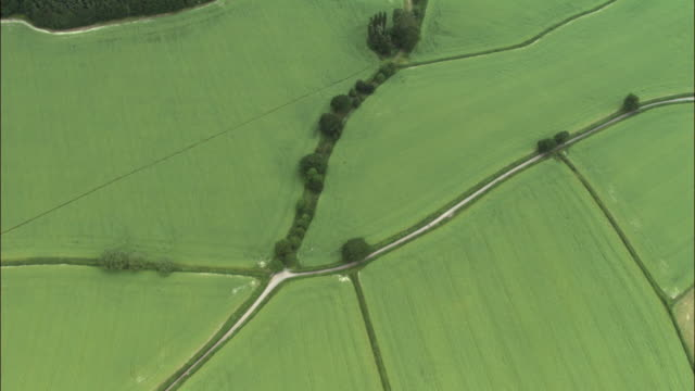 Aerial over fields and farmland, Yorkshire Dales, UK