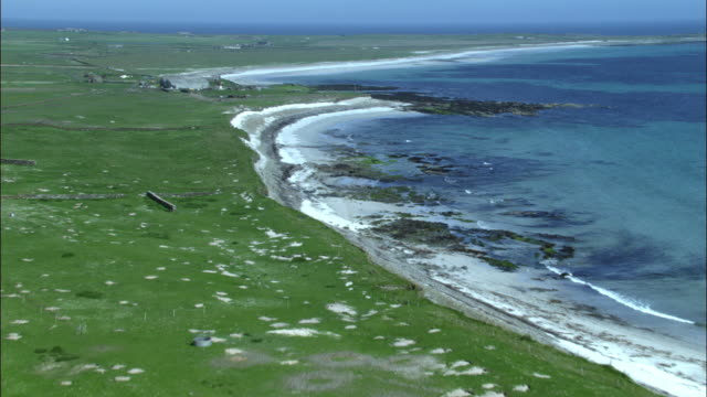 aerial over fields, stone walls and coast on north ronaldsay, orkney, scotland - coastline stock videos & royalty-free footage
