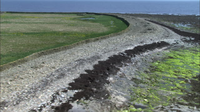 aerial over fields, stone walls and coast on north ronaldsay, orkney, scotland - north stock videos & royalty-free footage