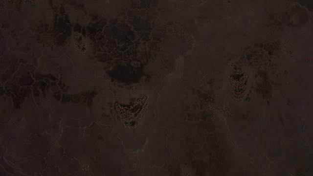 aerial over flamingos on lake natron at sunset, tanzania - タンザニア点の映像素材/bロール