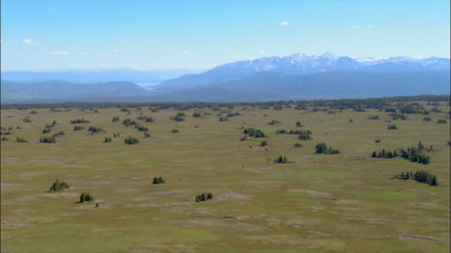 aerial over flatlands at foot of mountains in grand teton national park/ wyoming - grand teton stock videos & royalty-free footage