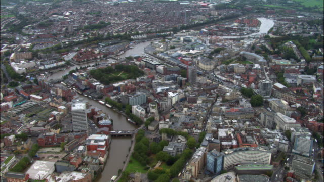 aerial over floating harbour and city of bristol, uk - bristol england stock videos and b-roll footage