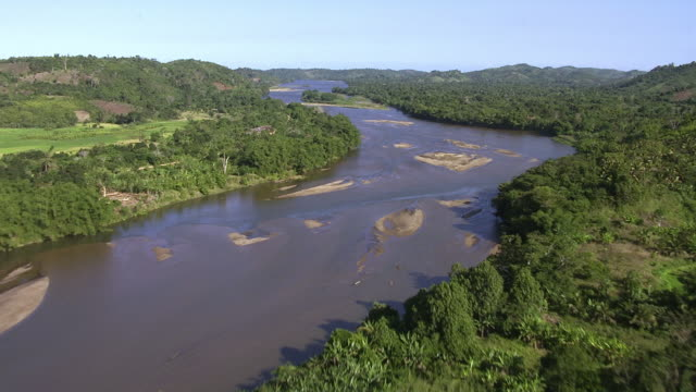 aerial over forests and river, madagascar - river stock videos & royalty-free footage