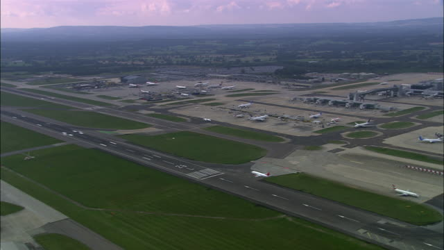 aerial over gatwick airport/ west sussex, england - gatwick airport stock videos & royalty-free footage