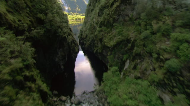 Aerial over gorge to waterfall/ Fiordland National Park, New Zealand