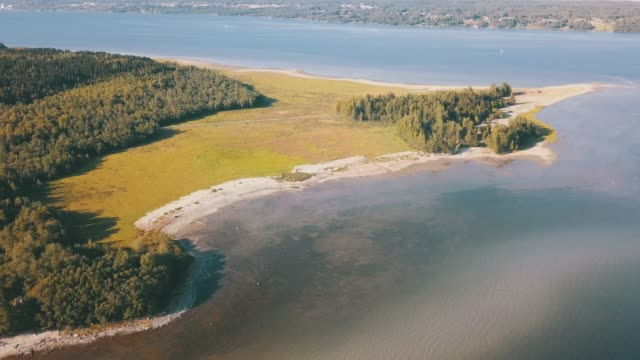 aerial over green peninsula - coastal feature stock videos & royalty-free footage