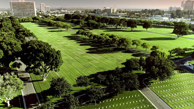 aerial  over  headstones in  national cemetery near 405 freeway traffic and federal building in westwood in far distance - westwood neighborhood los angeles stock videos & royalty-free footage