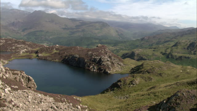 aerial over heather (calluna vulgaris), crags and mountain lake in snowdonia, wales, uk - snowdonia stock videos & royalty-free footage