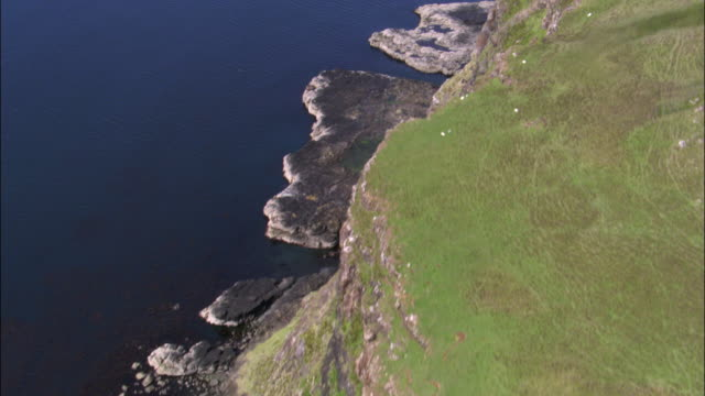 Aerial over high sea cliffs of Isle of Skye, Scotland, UK