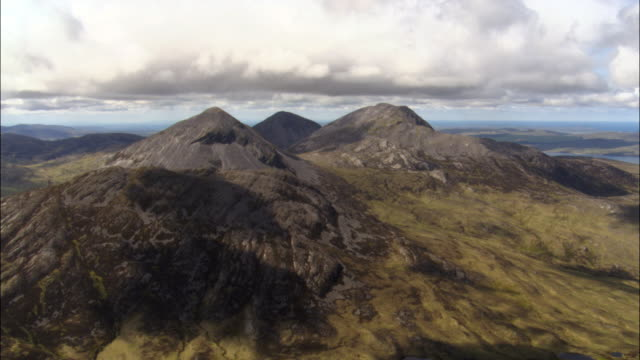 Aerial over hills and mountains, Scotland, UK