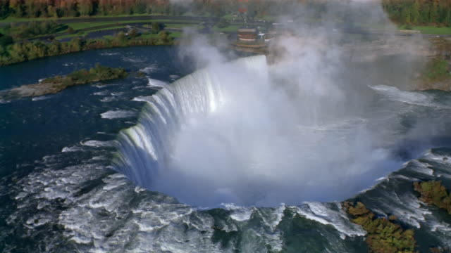 aerial over horseshoe falls / rainbow / niagara falls, canada - niagara falls stock videos and b-roll footage