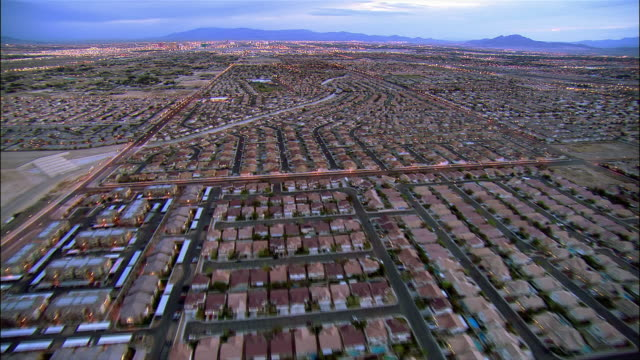 aerial over housing tract / las vegas, nevada - tract housing stock videos & royalty-free footage