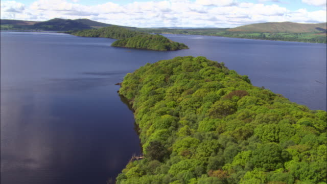 Aerial over islands in Loch Lomond, Scotland, UK
