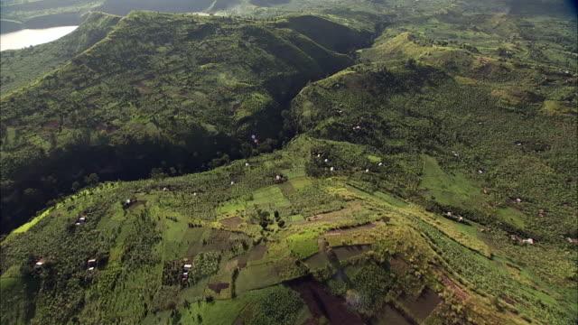 Aerial over Kyambura gorge, farms and banana plantations, Uganda
