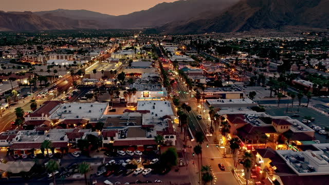 ws aerial over la plaza open-air shopping center from 1936 in downtown palm springs at night between indian canyon dr and palm canyon dr - 1936 stock videos & royalty-free footage