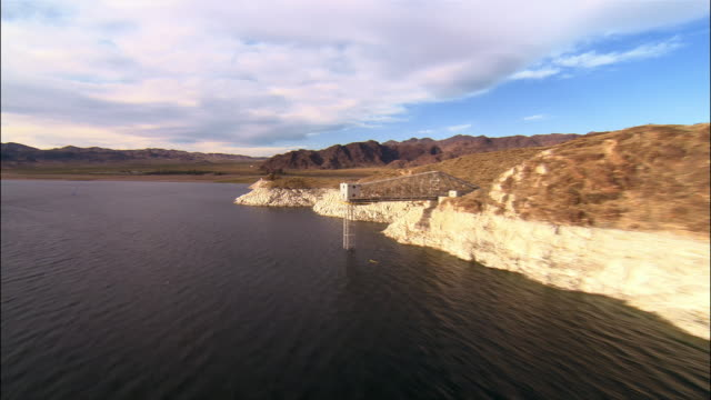 aerial over lake mead and moored boats/ las vegas - lake mead video stock e b–roll