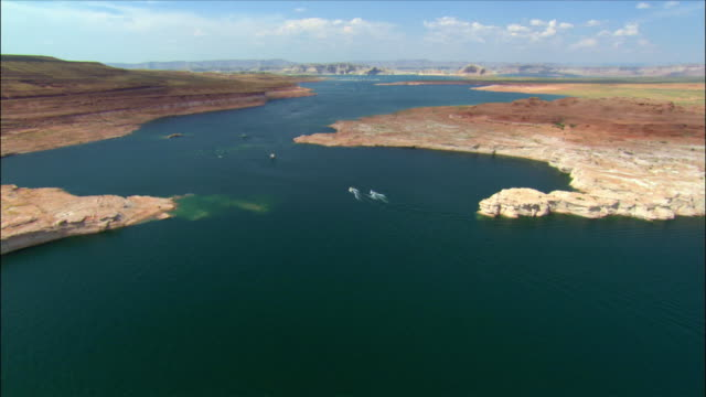 aerial over lake powell looking north - lake powell stock videos and b-roll footage